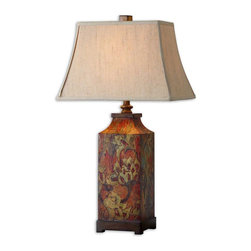 Uttermost - Colorful Flowers Table Lamp - Colorful Flower Print With Burnished Walnut Finished Details. The Rectangle Bell Shade Is An Ivory Linen Fabric.