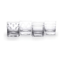 Mikasa - Mikasa 'Espressions' Assorted Double Old Fashioned Glasses (Set of 4) - Add a stylish and unique piece to your drinkware collection with this set of four Expressions glasses. Crafted of glass, each of these clear, 12.75-ounce double old-fashioned glasses feature a different pattern.