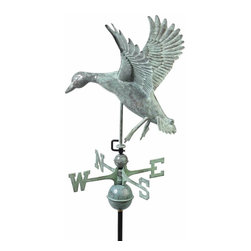 G.D. - Good Directions Landing Duck Weathervane - Blue Verde Copper - With wings braced, this duck is ready to drop into the river's edge at twilight, or onto the rooftop of your house, barn, garage, or cupola. Our Good Directions' artisans use Old World techniques to handcraft this fully functional, standard-size weathervane that's unsurpassed in style, quality and durability. A great gift for wildlife enthusiasts!