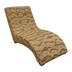ORE International - Modern Chaise with Leopard Print - Faux suede upholstery on the outside for sturdiness and comfort. Sliding and curvature backrest for comfortable resting. Wooden framework. Fit perfectly in any living room style and decor. Weight capacity: 300 lbs.. Warranty: 60 days. Made from wood. Minimal assembly required. Space from the seat to the floor: 14 in. H. Backseat height: 30 in. H. Seat length: 46 in.. Overall: 67 in. L x 31 in. W x 33 in. H