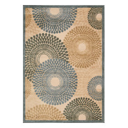 """Nourison - Nourison Graphic Illusions Transitional Circles Teal 3'6"""" x 5'6"""" Rug by RugLots - Striking, bold patterns define this alluring collection of tantalizing rugs. Featuring an exciting hand-carved, high-low texture and contemporary color palette, these attractive area rugs will add a distinctive flair to any setting. Indulge the senses and make a bold statement with these durable and captivating creations for the floor."""