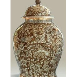 Maitland Smith Hand-Painted Brown and White Porcelain Temple Jar, Floral Motif