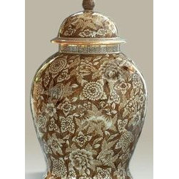Maitland Smith Hand-Painted Brown and White Porcelain Temple Jar, Floral Motif - This traditional temple jar has an all-over brown and white pattern.
