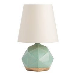 Arteriors - Gideon Lamp - The repeating pentagon pattern created by the geometric planes on the lamp surface makes what could be just another simple sphere into something unique. The celadon crackle glaze applied over terracotta-like porcelain is applied so that it stops before it reaches the bottom. The putty microfiber empire shade is lined in light gray cotton.  Takes 1 - 150 W 3-way bulb.