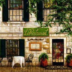 The Tile Mural Store (USA) - Tile Mural - Cafe 1 - Kitchen Backsplash Ideas - This beautiful artwork by Malenda Trick has been digitally reproduced for tiles and depicts a street scene with a cafe.  This street scene tile mural would be perfect as part of your kitchen backsplash tile project or your tub and shower surround bathroom tile project. Street scenes images on tiles add a unique element to your tiling project and are a great kitchen backsplash idea. Use a street scene tile mural, perhaps a Tuscan theme tile mural, for a wall tile project in any room in your home where you want to add interesting wall tile.