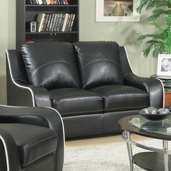 Coaster - Myles Loveseat, Black - Stylish and comfortable, our Myles collection offers a contemporary look featuring contrast white stitching that lines the edges of each piece. With durable bonded leather seating, this sofa set in black is sure to make a statement in your living room.