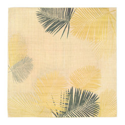 "Trans-Ocean - Palms Yellow 7'10"" SQ Indoor/Outdoor Flatweave Rug - Casual and Simple pattern combined with beautifully blended yarns in modern colors make this Machine Made rug rise above the rest. Wilton Woven in Turkey of 100% Polypropylene and UV stabilized for Indoor or Outdoor use. A loose weave of Polypropylene creates the look of natural fibers but is easy to care for."