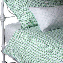 Mia + Finn - James Sky/Grass Duvet Cover, Twin - As cozy and comfortable as a cookout, this country-style duvet cover is fabricated from 300 thread count cotton percale, for a soft feel and machine-washable convenience. Each piece is individually block-printed, resulting in subtle variations that are a hallmark of this age-old process.