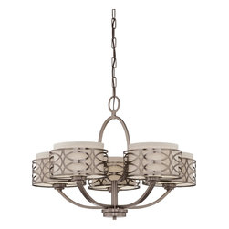 Nuvo Lighting - Harlow Five Light Chandelier With Khaki Fabric Shades In Hazel Bronze Finish - Harlow - 5 Light Chandelier w/ Khaki Fabric Shades