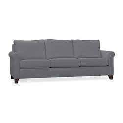 """Cameron Roll Arm Upholstered Grand Sofa, Polyester Wrap Cushions, Twill Metal Gr - Crafted by our master upholsterers in North Carolina, our Cameron Collection offers superb quality at an unparalleled price. Our sofa is built with eco-friendly materials and plush seat cushions for maximum comfort. 98"""" w x 36"""" d x 35"""" h Polyester-wrapped cushions provide a tailored and neat look. Proudly made in America, view video. For shipping and return information, click on the shipping tab. When making your selection, see the Quick Ship and Special Order fabrics below. Please call 1.888.779.5176 to place your order for additional fabrics."""