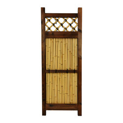 Oriental Furniture - 4 ft. x 1 1/2 ft. Japanese Bamboo Zen Garden Fence - Narrow Japanese bamboo garden fence featuring authentic bleached bamboo poles. Dark walnut stained wood frame. Criss-cross bamboo lattice and supportive cross-beam both have decorative black ties. At just shy of four feet tall and one-and-a-half feet wide, the perfect sized panel for small gardens, tight corners, or narrow spaces.
