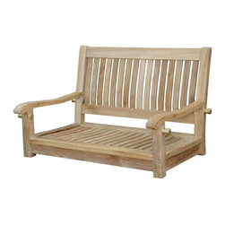"""Anderson Teak - Del-Amo 36"""" Straight Swing Bench - The Classic 36"""" porch teak swing bench is now available for your comfort. Designed for long enjoyable swinging hours. It made from premium solid teakwood for strength, beauty and many generations to enjoy. Place the classic swing bench under the big tree or your porch. It will amazed your family and friends. Cushion made of Sunbrella fabric optional for more comfort. Cushion is optional and is being made by order."""