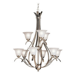 BUILDER - BUILDER Dover Transitional Chandelier X-IN0252 - Elegant and sleek, the Kichler Lighting Dover Transitional chandelier enjoys generous curves and graceful metalwork. It features a hand-wrought steel frame with brushed nickel finish. The shapely etched seedy glass shades greatly complements the nickel finish. This chic chandelier offers beautiful warm lighting to the living space.