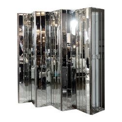 Ultra Chic Modernist 6-Paneled Mirrored Screen - There is nothing more classic than a beveled mirrored screen. Chic and sophisticated with modernist overtones, this one would literally shine in a living room or dining room. It has a stunning silver-leafed backside as well.