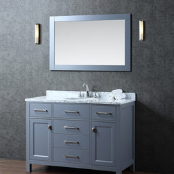 """NEW 48' Bella Bathroom Vanity - Grey - Beautiful transitional style bathroom vanity by Ari Kitchen and Bath, a new brand manufacturing quality bathroom decor at affordable prices. The new 48"""" Bella comes with 1"""" edge Italian carrara marble top, backsplash, rectangle undermount CUPC basin, soft-closing drawers and doors, concealed drawer hinges, grey framed mirror and grey solid wood bathroom cabinet. Absolutely no MDF or Particle board on all of our bathroom vanities. All of our bathroom vanities come assembled by the manufacturer, minimal assembly required."""