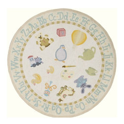 Momeni - Kids Lil Mo Classic Round 5' Round Pale Yellow Area Rug - The Lil Mo Classic area rug Collection offers an affordable assortment of Kids stylings. Lil Mo Classic features a blend of natural Pale Yellow color. Hand Hooked of 100% Cotton the Lil Mo Classic Collection is an intriguing compliment to any decor.