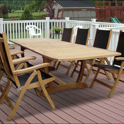"""Fifthroom - 84"""" Teak Expansion Table and Florida Chair Set -"""