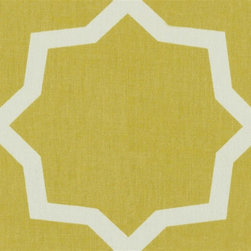 Indoor/Outdoor Mandella Citrine Fabric - This refined citrine print on an indoor/outdoor fabric is sure to do wonders in your space.