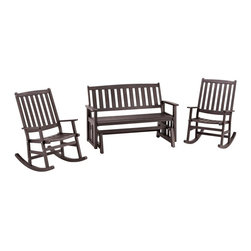HomeStyles - Bali Hai Outdoor Glider Bench and Two Rocking - Eco-friendly, plantation grown Shorea wood. Contoured seat. traditional slat design. Stainless steel hardware. Dimensions: 54.25 in. W X  28 in. D X  35.75 in. H30.5 in. W X  25.75 in. D X  38.5 in. HCreate an island oasis on your porch or patio with a Home Styles Bali Hai Outdoor Glider Bench and Two Rocking Chairs.  Showcasing an island inspired design in a versatile washed black finish with rubbed aged look and construction of eco-friendly, plantation grown Shorea wood which is known for its exceptional durability and natural resistance to water, this bench is designed to provide endless hours of outdoor entertainment use.  Curved back and contoured seats provide excellent support and impart a slightly modern touch to the overall traditional slat design.  Beautifully built with stainless steel hardware.  Set includes glider bench and two (2) rocking chairs.  Glider bench seat height measures 17.75 inches high. Rocking Chair seat height measures 16 inches high.  Glider bench size: 54.25w 28d 35.75h. Rocking chair size: 30.5w 25.75d 38.5h.