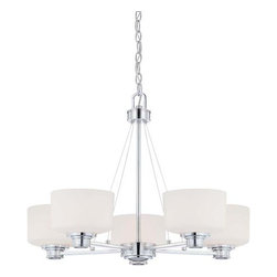 Nuvo Lighting - Nuvo Lighting 60/4585 Soho Five Light Chandelier with Satin White Glass, in Poli - Nuvo Lighting 60/4585 Soho Five Light Chandelier with Satin White Glass, in Polished Chrome FinishSoho is a contemporary collection that offers understated elegance. Finished in Polished Chrome with Satin White glassware and accented with thin airplane cable white, Soho delivers just the right message without overpowering its environment.Nuvo Lighting 60/4585 Features: