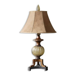 Uttermost - Gavet Table Lamp - Crackled, translucent sea green sphere with antiqued stain, black crackled foot and copper bronze details