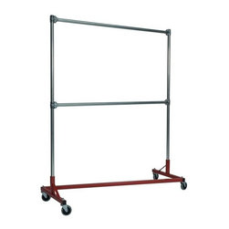 Z Racks - Heavy Duty 5 ft. Z-Rack Garment Rack w Double - Base Color: Red. 500lb capacity. 14 gauge, 60 in. Long steel base (Environmentally safe powder coated finish ). 16 gauge, 72 in. upright bars and double hang rails. 1 5/16 outside diameter upright bars and hang rail. Grey non-marking soft rubber with TP center 4 in. casters. Made in the USA. 63 in. L x 23 in. W x 79 in. HThis Z-Rack is designed to hold up to 500 lbs of apparel, while maximizing all five feet of length. Also, because the two rows are placed on top of each other, the rack with steady 4 in. casters will not tip under a heavy load. The second hang rail can be placed anywhere desired along the uprights.