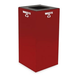 Witt Industries Geo Cubes 32 Gallon Scarlet Recycling Bin - Encourage others to recycle with the Witt Industries Geo Cubes 32 Gallon Scarlett Recycling Bin. The scarlet color is both stylish and bold making it easy to see while the included decals clearly designate what the bin is for. All you have to do is decide what you want to use it for and choose a lid. Compact and fire safe steel construction makes this bin durable and long lasting. The bin holds up to 32 gallons and measures 15L x 15W x 32H.About Witt IndustriesWith its rich and established history in the steel waste receptacle manufacturing industry that dates back to 1887 Witt Industries has been in the forefront with its innovation quality and service. The company's founder George Witt invented and patented the first corrugated galvanized ash can and lid back in 1889 and the company has never looked back. Today Witt Industries is part of the Armor Metal Group and is a woman-owned business.