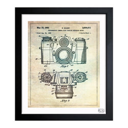 "The Oliver Gal Artist Co. - ''Sauer Camera 1962' 10""x12"" Framed Art - Exclusive blueprints inspired by real vintage patent drawings & illustrations. Handcrafted in the Oliver Gal Artist Co. Studios in Miami, Florida. Produced on matte proofing paper and hand framed by professional framers in a 1.2"" premium black wood frame. Perfect for any interior design project, gifts, office décor, or to add special value to one of your favorite collections."