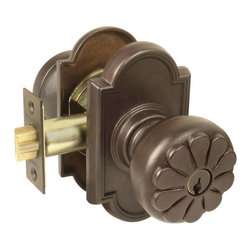 Petal Key-in-Knob Set with Decorative Rosette - This set features knobs with charming flower petal detail and decorative rosettes.