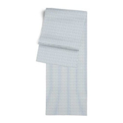 Light Blue Pinstripe Custom Table Runner - Get ready to dine in style with your new Simple Table Runner. With clean rolled edges and hundreds of fabrics to choose from, it's the perfect centerpiece to the well set table. We love it in this light blue and ivory woven cotton pinstripe for a preppy classic accent.