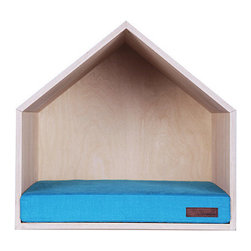 Pet House, Hawaiian Blue - This simple modern doghouse comes with a choice of ten beautiful colors for the beds.