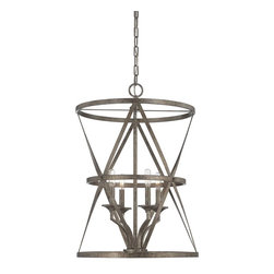 Savoy House - Savoy House Rail Foyer Pendant Light Fixture in Antique Nickel - Shown in picture: Rail 4-Light Foyer in Antique Nickel Finish
