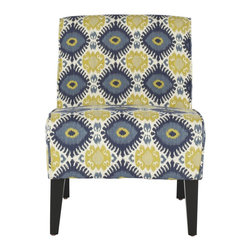 Safavieh - Lisimba Armless Club Chair - The simple, elegant profile of the Lisimba armless chair gets a fresh finish with a vivid tribal pattern in blue, green-gold and off-white on 100% cotton fabric. Legs are crafted from sturdy birch wood and finished in dark brown.