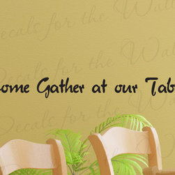 Decals for the Wall - Wall Quote Decal Sticker Vinyl Lettering Come Gather at Our Table Kitchen KI25 - This decal says ''Come gather at our table''