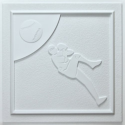 """Baseball Ceiling Tile - White - Perfect for both commercial and residential applications, these tiles are made from thick .03"""" vinyl plastic. Their lightweight yet durable construction make these tiles easy to install. Waterproof, these tiles are washable and won't stain due to humidity or mildew. A perfect choice for anyone wanting to add that designer touch at an amazing price."""