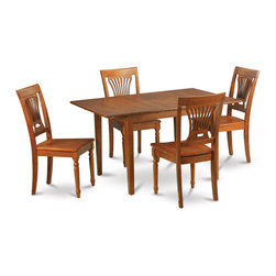 """East West Furniture - Milan 5Pc Set with Dining Table and 4 Plainville Wood Seat Chairs - Milan 5Pc Set with Rectangular Table Featured 12 In Butterfly Leaf and 4 Wood Seat Chairs; Rectangular dining table is designed in contemporary style with clean angles and sleek lines.; Table and chairs are crafted of fine Asian solid wood for quality and longevity.; Chairs are available with either wooden seats or upholstered seats to suit preference and desired motif.; Table features a standard butterfly leaf for convenient extension.; Ladder back chair style is sturdy, durable, and is ideal for classic decor in any kitchen or dining room.; Dinette sets are available in either rich Mahogany or exquisite Saddle Brown finish.; Weight: 145 lbs; Dimensions: Table: 42 - 54""""L x 36""""W x 29.5""""H; Chair: 18""""L x 18""""W x 38""""H"""
