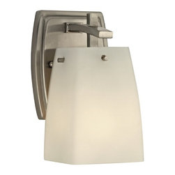 Design Classics Lighting - Wall Sconce Light in Satin Nickel Finish with White Square Glass - 9441-09 - Satin nickel finish sconce wall light with square satin white glass. Takes (1) 100-watt incandescent A19 bulb(s). Bulb(s) sold separately. UL listed. Damp location rated.