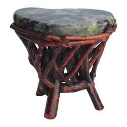Golden Lotus - Crystal Stone Top Bamboo Wood Sticks Accent Stool Table - This is a free style natural crystal stone top stool with bamboo wood sticks cross pattern base. It is more for decoration and as a display stand. Stone itself is heavy. Not for regular sitting purpose. ( green on the side and center dark is purple color )