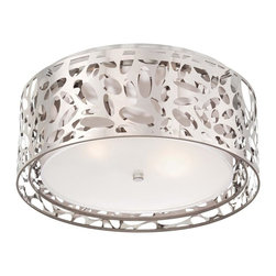 Minka George Kovacs - Minka George Kovacs Layover Two Light Chrome / White Fabric Flush Mount - This Two Light Drum shade Flush Mount is part of the Layover Collection and has a Chrome finish and a Chrome / White Fabric - Frosted White Diffuser shade.