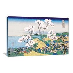 "Artsy Canvas - Cherry Blossom Festival 36"" X 24"" Gallery Wrapped Canvas Wall Art - Cherry Blossom Festival - Katsushika Hokusai (1760 beautifully represented on 36"" x 24"" high-quality, gallery wrapped canvas wall art"