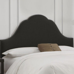 "Skyline Furniture - Nail Button Arch Upholstered Headboard - This contemporary headboard is embellished with nail buttons along the wings. This unique style headboard is inset by two upholstered wings. It's sure to add a modern look to any bedroom. Features: -Elegant high arch embellished with ornamental brass nail buttons along the silhouette.-Dramatic design is sure to add a touch of class to any bedroom.-Spot clean only.-Handmade.-Made in the USA.-Upholstered in delicate linen finish.-Attaches to any standard metal bed frame construction.-Nail Button collection.-Gloss Finish: No.-Frame Material: Pine wood.-Hardware Material: Steel.-Adjustable Height: No.-Wall Mounted: Yes.-Reversible: No.-Media Outlet Hole: No.-Built In Outlets: No.-Hardware Finish: Black metal.-Finished Back: No.-Distressed: No.-Hidden Storage: No.-Freestanding: No.-Frame Included: No.-Drill Holes for Frame: Yes.-Commercial Use: No.-Recycled Content: No.Specifications: -EPP Compliant: No.-CPSIA or CPSC Compliant: Yes.-CARB Compliant: Yes.-JPMA Certified: No.-ASTM Certified: No.-ISTA 3A Certified: Yes.-PEFC Certified: No.-General Conformity Certificate: Yes.-Green Guard Certified: No.Dimensions: -Overall Height - Top to Bottom (Size: California King): 58"".-Overall Height - Top to Bottom (Size: Full): 58"".-Overall Height - Top to Bottom (Size: King): 58"".-Overall Height - Top to Bottom (Size: Queen): 58"".-Overall Height - Top to Bottom (Size: Twin): 58"".-Overall Width - Side to Side (Size: California King): 74"".-Overall Width - Side to Side (Size: Full): 56"".-Overall Width - Side to Side (Size: King): 78"".-Overall Width - Side to Side (Size: Queen): 62"".-Overall Width - Side to Side (Size: Twin): 41"".-Overall Depth - Front to Back (Size: California King): 4"".-Overall Depth - Front to Back (Size: Full): 4"".-Overall Depth - Front to Back (Size: King): 4"".-Overall Depth - Front to Back (Size: Queen): 4"".-Overall Depth - Front to Back (Size: Twin): 4"".-Overall Product Weight (Size: California King): 40 lbs.-Overall Product Weight (Size: Full): 31 lbs.-Overall Product Weight (Size: King): 45 lbs.-Overall Product Weight (Size: Queen): 33 lbs.-Overall Product Weight (Size: Twin): 24 lbs.-Leg Height: 6"".-Bottom of Headboard to Floor: 24"".Assembly: -Assembly required.-Tools Needed: Allen wrench, wrench.-Additional Parts Required: No.Warranty: -1 Year limited warranty, excludes fabric.-Product Warranty: 1 Year limited (Excludes fabric)."