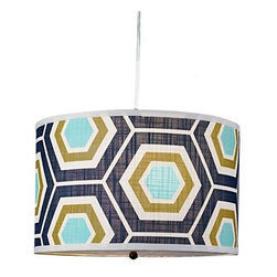 Retro Honeycomb Drum Shade Pendant - Who says retro can't be handsome? This drum pendant boasts a honeycomb pattern in navy, aqua and olive. Suspend it in an open dining area or breakfast nook for a masculine effect.