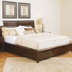 Pulaski - Tangerine Storage Panel Bed - The Tangerine is crafted using stunning cherry veneers in a Ginger finish. Its unique design features serpentine double front drawer fronts. Gleaming black nickel finish hardware is recessed to complement the sleek contemporary look. Beneath its good looks the collection provides extraordinary functionality at a surprisingly affordable price. Each feature rich piece is designed to appeal to the younger generations need for multi-functionality, gadget charging, media consumption and entertaining. Features: -Tangerine collection. -Cherry veneers construction. -Contemporary style. -Double front drawer fronts. -Gleaming black nickel finish hardware. -Extraordinary functionality. -Multi-functional.