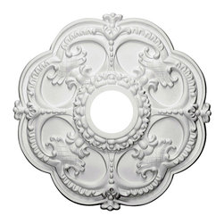 """Ekena Millwork - 18""""OD x 3 1/2""""ID x 1 1/2""""P Rotherham Ceiling Medallion - Our ceiling medallion collections are modeled after original historical patterns and designs. Our artisans then hand carve an original piece. Being hand carved each piece is richly detailed with deep relief, sharp lines, and a truly unique touch. That master piece is then used to create a mould master. Once the mould master is created we use our high density urethane foam to form each medallion.  The finished look is a beautifully detailed, light weight, solid construction, focal piece. The resemblance to original plaster medallions is achieved only by using our high density urethane and not vacuum formed, """"plastic"""" type medallions.  - Medallions can be cut using standard woodworking tools to add a hole for electrical or a ceiling fan canopy. - Medallions are light weight for easy installation. - They are fully primed and ready for your paint.  If you have any questions feel free to ask. These are in stock and available for immediate shipment."""