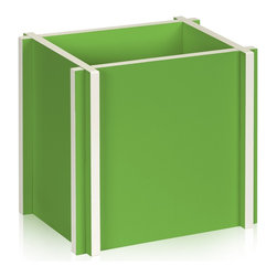 Way Basics - Paper Bag Holder, Green - Unique recycling enclosure made from zBoard! An interlocking design gives a contemporary feel for those plain recycling paper bags. Recycling never looked so good.