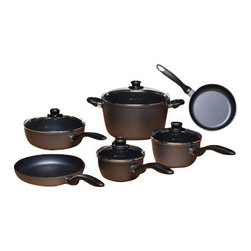 Swiss Diamond - 10 Piece Set: Ultimate Kitchen Kit - With Swiss Diamond's patented diamond-reinforced nonstick coating inside and out for easy cleaning, this 10-piece cookware set outfits a kitchen with all of the basics while promoting healthy, low-fat cooking. The set contains: 8 inch Fry Pan perfect for individual meals or side dishes, Larger 9.5 inch Fry Pan for main courses, Covered 3.2-quart Saute Pan for mixed dishes and steamed vegetables, 9.5 inch Lid that fits both the large skillet and the saute pan, 1.4-quart Saucepan with Lid for sauces and gravies, Larger 2.2-quart Saucepan with Lid for larger quantities of sauces and soups8.5-quart Stock Pot with Lid for pasta and main course stewsErgonomic stay cool handles are a staple on all Swiss Diamond cookware, and are oven-safe to 500 degrees F. They're welded, with no inside rivets to trap food, and have hanging holes. Swiss Diamond pans are made of cast aluminum. This set cooks food evenly without hotspots and resists warping. This cookware carries a Limited Lifetime Warranty.