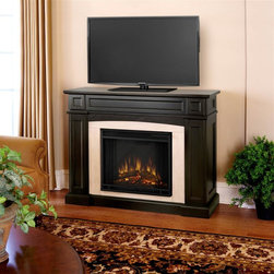 """Real Flame - Rutherford Electric Fireplace - Dark Walnut - Shelf dimensions:13.75"""" x 5.5"""". Includes: MDF mantel, firebox, hand painted cast concrete log ,screen kit and remote control. The hidden LED display shows the settings as they are changed from either the control panel or the slim profile remote. Features a programmable thermostat to provide precise heating in Celsius or Fahrenheit, timed shut off, dynamic embers. Requires open. Programmable thermostat with display in Fahrenheit or Celsius. Ultra Bright LED technology with 5 brightness settings. Digital readout display with up to 9 hours timed shut off. Dynamic ember effect. 46.5 in. W x 16 in. D x 37.5 in. H (136 lbs.)Disguised as a standard TV supporting mantel; with it's contrasting arched center panel, detailed recesses, and prominent profile - one would almost never guess that the Rutherford is hiding storage space for a multitude of media. A magnetically secured, flip down door easily opens to reveal A/V components, while hidden doors on either side of the firebox conceal almost 100 DVDs.1400 Watts. 4780 BTU's/hr."""