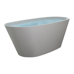 Badeloft - Modern Oval Shaped Stone Resin Freestanding Bathtub - BW-05 - Freestanding bathtub for your wellness oasis.  This Modern, Oval Shaped, Freestanding Bathtub is made out of stone resin.  Your choice of Matte White or Glossy White.  Several of our competitors charge 10% extra for Glossy but we do Not.  Comes with built-in overflow protection and a chrome pop-up plug drain.  This is our deepest soaking bathtub.