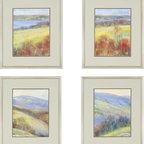 "Paragon Decor - Mountain View, Set of 4 Artwork - Brighten up those boring walls with this colorful set of 4 art pieces. Each piece included in ""Mountain View"" contrasts passionate crimson and burnt sienna tones with cool robin's egg blues, periwinkles and soft muted mustard yellows and greens. Each piece shows another view of the same landscape, creating a set that reminds one of the views from each window in a quaint country cabin. Each piece includes a gray matte and simple thin frame. Each piece in this set measures 21 inches wide, 1 inch deep, and 25 inches high."