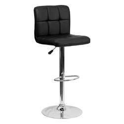 Flash Furniture - Black Quilted Vinyl Adjustable Height Bar Stool with Chrome Base - This sleek dual purpose stool easily adjusts from counter to bar height. The simple design allows it to seamlessly accent any area in the home. Not only is this stool stylish, but very comfortable to provide you with an amazing sitting experience! The easy to clean vinyl upholstery is an added bonus when stool is used regularly. The height adjustable swivel seat adjusts from counter to bar height with the handle located below the seat. The chrome footrest supports your feet while also providing a contemporary chic design.